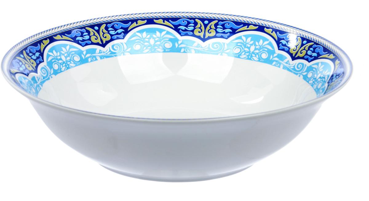 Салатница Dasen Лазурный орнамент , диаметр 23 смDNNB0002-7Фарфор производства Dasen - это достаточно изысканная столовая посуда с качественным белым основанием и круговой деколью весьма тонкой работы. Без сомнения, это посуда премиум-класса, которая имеет свое неповторимое тонкое звучание и любит свет. Подглазурные деколи надежно защищены глазурью, придающей посуде особый блеск, традиционный для костяного фарфора. Посуду Dasen можно использовать в СВЧ и мыть в ПММ.
