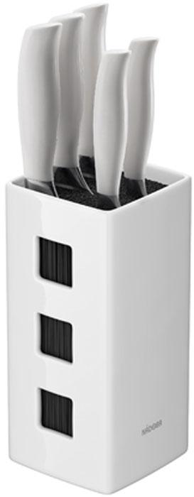 Набор ножей Blanca, на подставке, цвет: стальной, белый, черный, 6 предметов