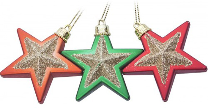 Набор новогодних украшений Mister Christmas Звезды, цвет: красный, зеленый, оранжевый, 3 штRL-STARMIX-2Набор подвесных украшений Mister Christmas Звезды прекрасно подойдет дляпраздничного декорановогодней ели. Набор состоит из трех украшений, выполненных из пластика ввиде звезд и украшенных блесками. Для удобного размещения на елке длякаждого украшения предусмотрена петелька.Елочная игрушка - символ Нового года. Она несет в себе волшебство и красотупраздника. Создайте в своем доме атмосферу веселья и радости, украшаяновогоднюю елку нарядными игрушками, которые будут из года в год накапливатьтеплоту воспоминаний.
