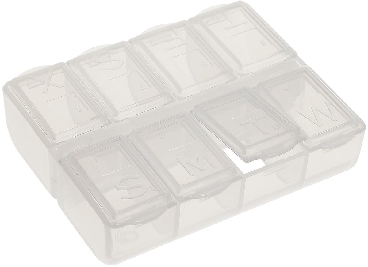 Таблетница Paterra, для путешествий, 8 отделений409-015Компактный органайзер для таблеток Paterra изготовлен из пластика.Предназначендля перевозки лекарственных препаратов, а также для распределения дозировки лекарств.Объем ячеек рассчитан на 10-15 таблеток. Размер контейнера: 7,5 см х 6,3 см х 2,5 см. Размер секций: 1,7 см х 2,5 см.