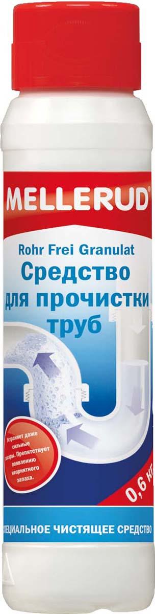 Средство для прочистки труб Mellerud, 600 мл322Устраняет засоры, быстро разлагает отложения в трубах - остатки пищевых продуктов, мыла, жир, волосы, вата и т.д. Прочищает трубы в ванной, умывальнике, душевых поддонах, унитазах и стоках. Размораживает замерзшие трубы.Применение. При засорении труб и канализации перекрыть воду. Насыпать в сток пол колпачка (30 гр) средства и добавить чашку холодной воды. (Осторожно, не брызгать!). Оставить на полчаса. Затем основательно промыть холодной водой. В случае очень сильных засоров процесс повторить и оставить средство на более длительное время. Для предотвращения появления запахов каждую неделю добавлять в стоки ? колпачка средства и споласкивать чашкой холодной воды.Внимание. Продукт сильно реагирует с водой и данная реакция сопровождается выделением тепла. При передозировке может произойти сильный нагрев, что приведет к деформации пластмассовых труб или к появлению в трубах наплывов. Не использовать для алюминиевых емкостей и не обрабатывать цинковые поверхности. Никогда не закрывать стоки пробкой. Не доливать воды во флакон. После применения флакон плотно закручивать. Не вытряхивать остатки в мусорную корзину или мусоропровод.