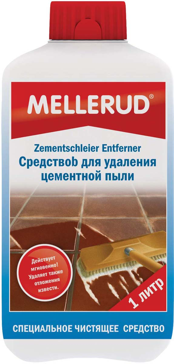Средство для удаления цементной пыли Mellerud, 1 л329Быстро и без проблем удаляет цементную пыль, остатки цемента, налет соли, грязь. Используется для чистки плитки, керамической половой плитки, изделий из натурального камня, не содержащего известь - гранита, сланца, кварцита. Содержит соляную кислоту.Применение. Поверхность слегка смочить водой. Средство наносится в чистом виде или разводится водой максимально 1:5. Оставить на короткое время, затем потереть жесткой щеткой и смыть большим количеством воды. Во время обработки не давать поверхности высохнуть. Большие площади делить на участки.Расход. 1 л на 10-15 кв.м. в зависимости от структуры и загрязнения поверхности.Внимание. Не применять для плитки и поверхностей, чувствительных к кислоте (мрамор, различные виды гранита, например, Белый кашмир, эмаль, хром. Перед применением попробовать на незаметном участке. Металлические предметы и арматуру нужно накрывать.