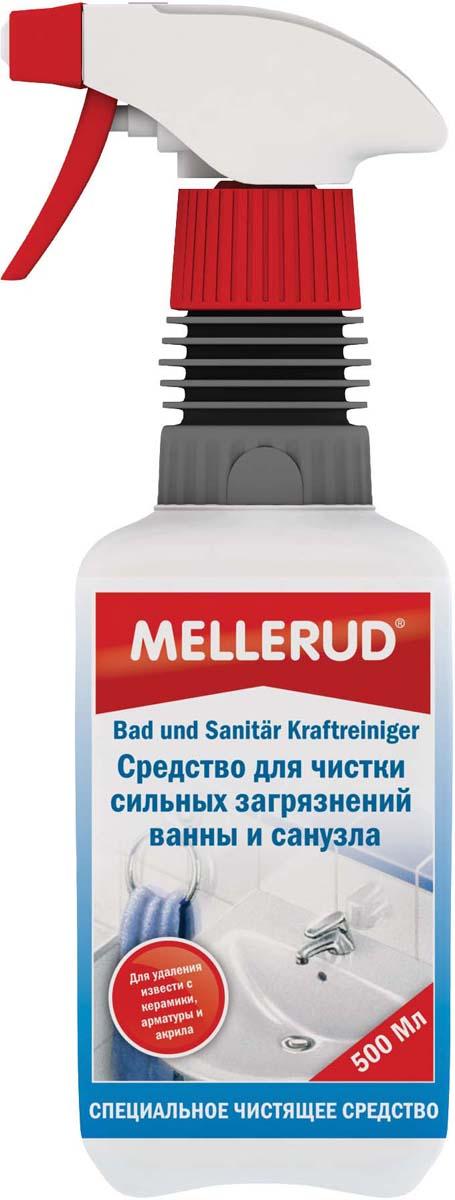 """Средство """"Mellerud"""" быстро и эффективно удаляет известковые пятна, серые пятна, остатки мыла и ржавчину со всех кислотоустойчивых поверхностей в санитарной области как: плитка, раковины, ванны, душевые кабины, гидромассажные ванны, унитазы и смесители. Растворяет малозаметные отложения и препятствует появлению бактерий и микробов. Создает гигиеническую чистоту и придает блеск благодаря водоотталкивающему эффекту.Применение: средство наносится на поверхность в неразбавленном виде. Оставить на короткое время и смыть большим количеством воды. При устойчивых загрязнениях средство наносится на поверхность, обрабатывается губкой и промывается большим количеством воды. Дополнительное полирование в большинстве случаев не требуется.Внимание. Не применять на плитке и поверхностях, чувствительных к кислоте, как природный и искусственный камень, травертин, террарацо и некоторые виды гранита. При обработке поверхностей из эмали оставлять на короткое время.Объем: 500 мл.Перед применением всегда проверять на переносимость на незаметном месте.  Как выбрать качественную бытовую химию, безопасную для природы и людей. Статья OZON Гид"""