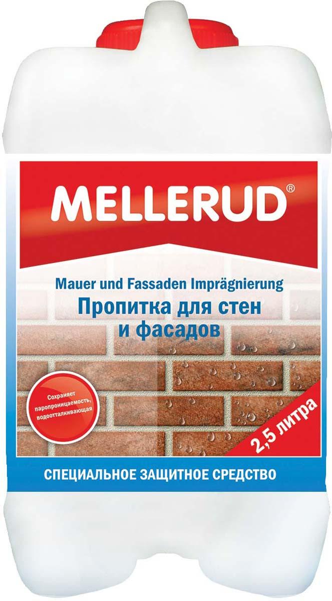Пропитка для стен и фасадов Mellerud, 2,5 л342Пропитка для стен и фасадов Mellerud предотвращает проникновение влаги и сырости, защищает от сильных дождей. Делает поверхность водоотталкивающей, не нарушая при этом паропроницаемость. Поверхность становится устойчивой к загрязнению, вода легко скатывается. Подходит для всех пористых и впитывающих поверхностей из природного, искусственного и облицовочного камня. Особенно подходит для песчаника, кирпича, клинкера, мрамора, террацо, шифера, порфира, глиняной плитки и плитки Котто, для минеральной штукатурки и бетона.Применение. Обильно наносится на сухое и чистое основание кистью, роликом или разбрызгивается. Многократное нанесение увеличивает глубину проникновения и водоотталкиваемость. Для не сильно впитывающих оснований продукт разводится 1:1 с водой. Стекло, пластик и полированные поверхности хорошо укрыть.Расход: 1 л на 10-20 кв.м в зависимости от впитываемости и структуры основания.Внимание. Количество нанесенной пропитки должно соответствовать впитывающей способности материала. Возможного изменения цвета (рекомендуется проверить на незаметном участке).Как выбрать качественную бытовую химию, безопасную для природы и людей. Статья OZON Гид