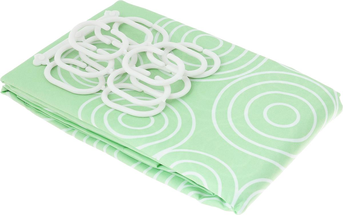 Занавеска для ванной Verran, тканевая, цвет: зеленый, 180 x 180 см631-06Занавеска для ванной Verran выполнена из плотного полиэстера. Благодаря свойству водонепроницаемости и превосходному дизайну, данный аксессуар прекрасно впишется в любой интерьер ванной комнаты и станет надежной защитой от намокания посторонних предметов. Занавеска снабжена двенадцатью пластиковыми колечками.