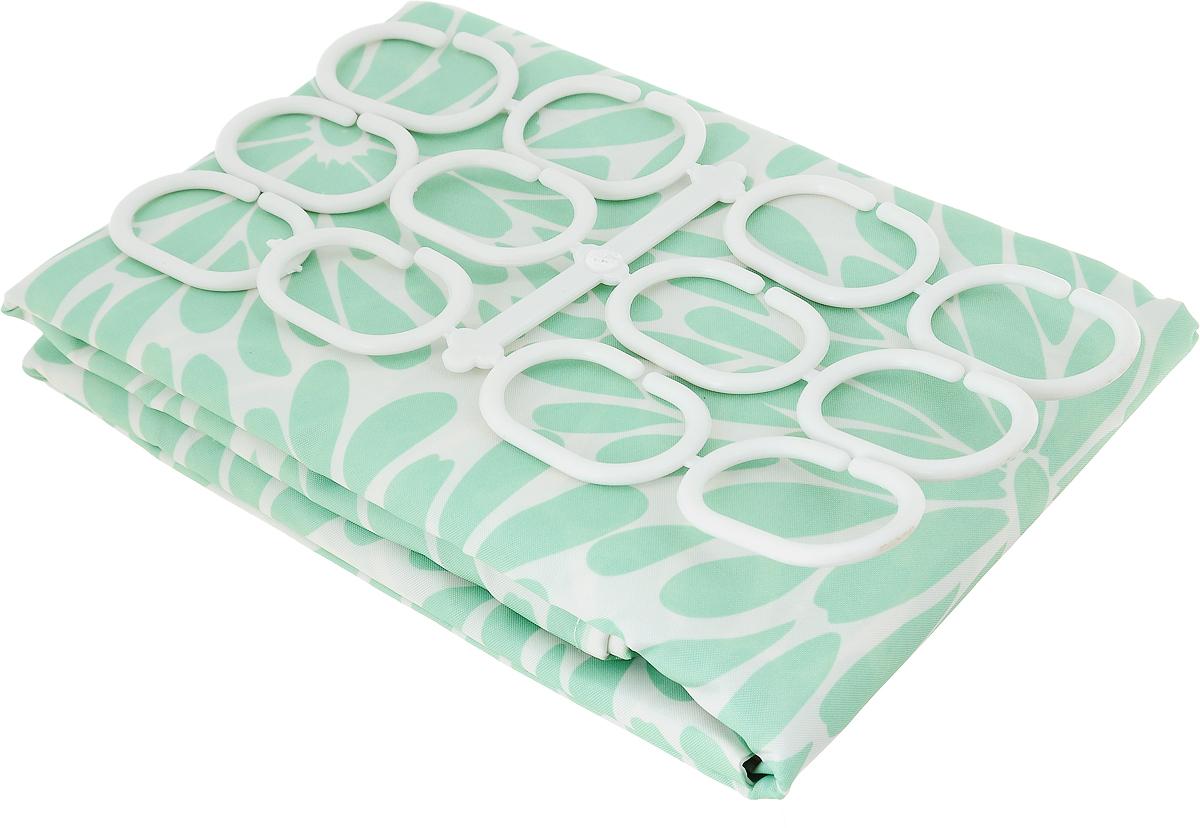 Занавеска для ванной Verran, тканевая, цвет: салатовый, белый, 180 x 180 см631-04Занавеска для ванной Verran выполнена из плотного полиэстера. Благодаря свойству водонепроницаемости и превосходному дизайну, данный аксессуар прекрасно впишется в любой интерьер ванной комнаты и станет надежной защитой от намокания посторонних предметов.Занавеска снабжена двенадцатью пластиковыми колечками.
