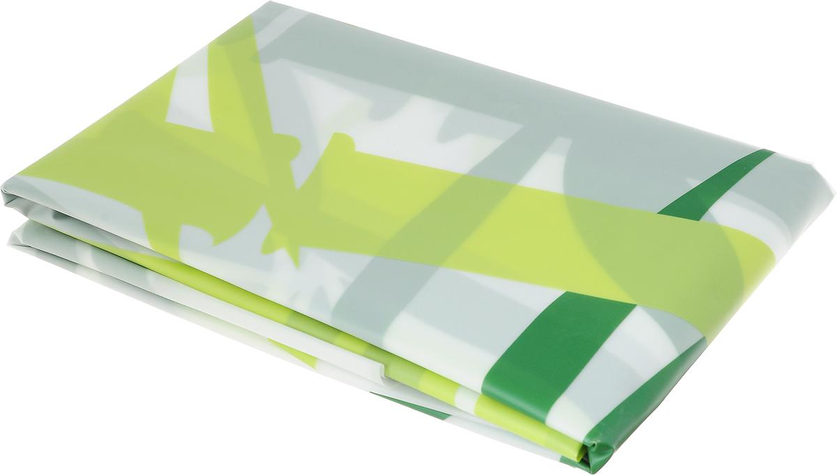 Занавеска для ванной Verran, тканевая, цвет: белый, салатовый, зеленый, 180 х 180 см