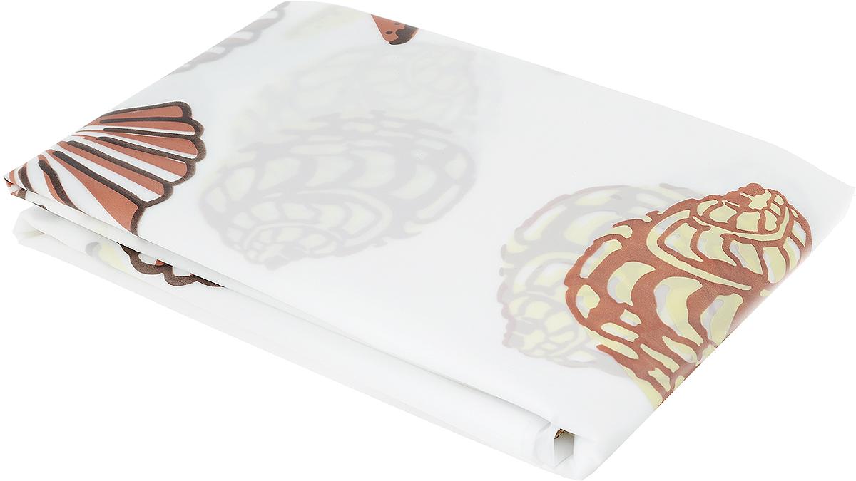 Занавеска для ванной Verran, пластиковая, цвет: белый, бежевый, 180 х 180 см verran полотенце для ванной 70х140 см beigeverran lace