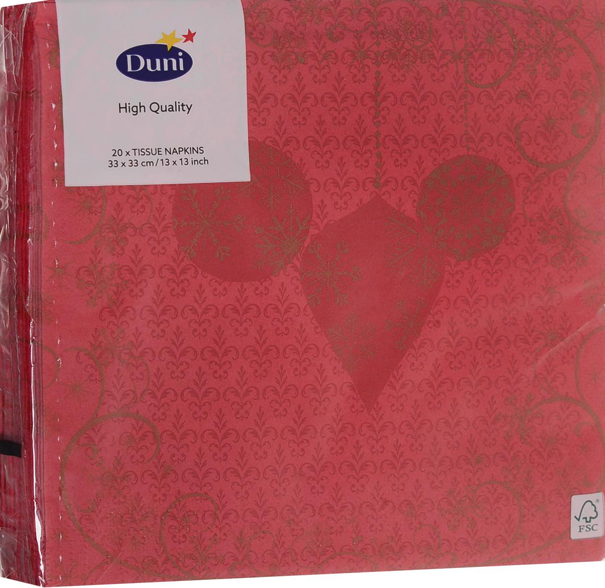 Салфетки бумажные Duni Ornate X-Mas, 3-слойные, цвет: красный, 33 х 33 см, 20 шт0910-1230_красныйТрехслойные бумажные салфетки изготовлены из экологически чистого, высококачественного сырья - 100% целлюлозы. Салфетки выполнены в оригинальном и современном стиле, прекрасно сочетаются с любым интерьером и всегда будут прекрасным и незаменимым украшением стола. В упаковке 20 салфеток.
