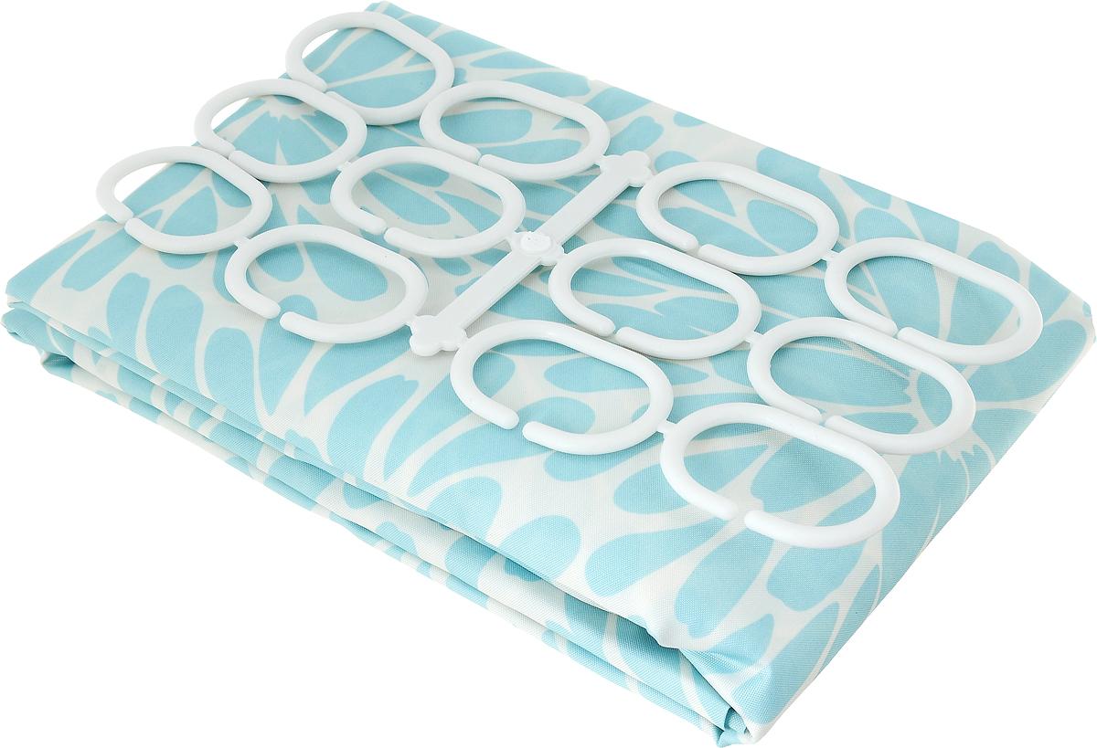 Занавеска для ванной Verran, тканевая, цвет: голубой, белый, 180 x 180 см631-07Занавеска для ванной Verran выполнена из плотного полиэстера. Благодаря свойству водонепроницаемости и превосходному дизайну, данный аксессуар прекрасно впишется в любой интерьер ванной комнаты и станет надежной защитой от намокания посторонних предметов.Занавеска снабжена двенадцатью пластиковыми колечками.
