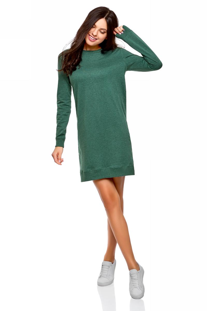 Платье oodji Ultra, цвет: изумрудный меланж. 14001199B/46919/6D00M. Размер XL (50)14001199B/46919/6D00MТрикотажное платье от oodji выполнено из натурального хлопка. Модель облегающего кроя с длинными рукавами и круглым вырезом горловины.
