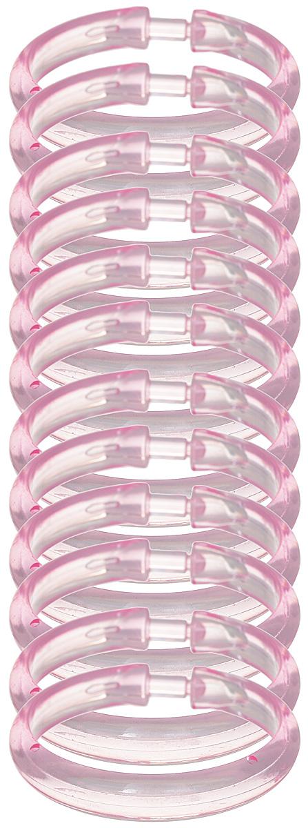 Кольца для занавесок Verran Lokee, цвет: розовый682-86Пластиковые кольца для занавесок имеют множество преимуществ. Они не подвержены коррозии и за ними, практически, не нужно ухаживать. Благодаря удобной click-системе кольца позволяют легко и быстро снимать и вешать штору без демонтажа карниза. В комплект входит 12 колец.