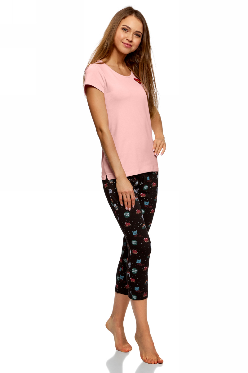 Пижама женская oodji Ultra, цвет: черный, светло-розовый. 56002209-9/47962/2940O. Размер S (44) капри oodji капри