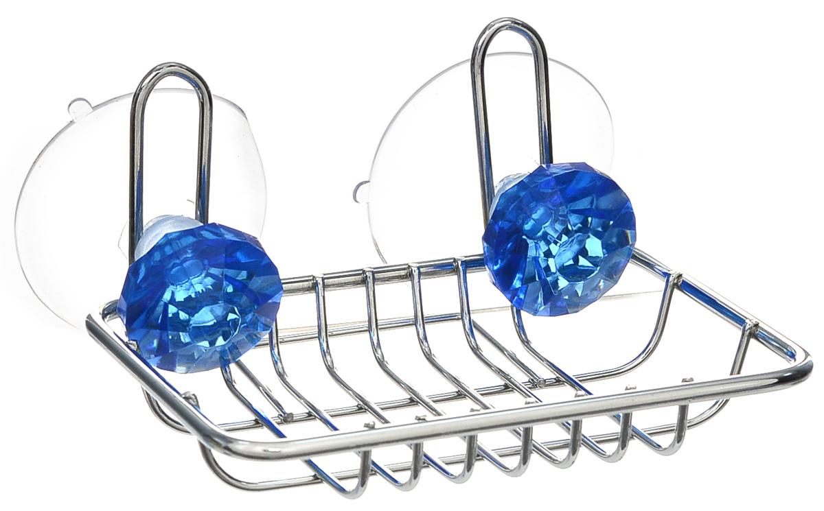 Мыльница Top Star Kristall, подвесная, на присосках, цвет: синий, стальной, 9,5 х 11,5 х 6,5 см280882_синийМыльница Top Star Kristall изготовлена из хромированной стали. Изделие крепится к стене при помощи двух присосок. Такая мыльница прекрасно подойдет для ванной комнаты или кухни.