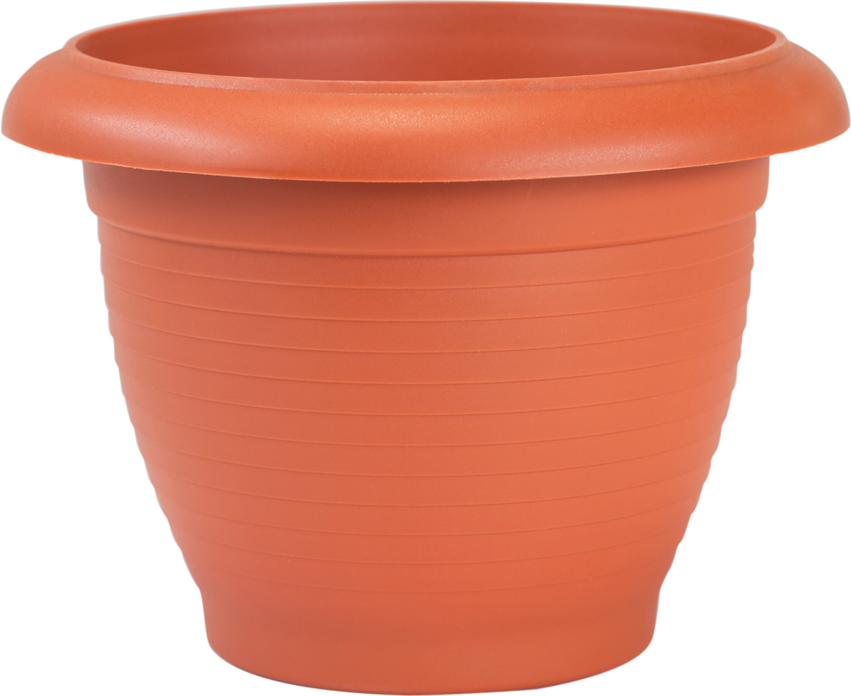 Цветочный горшок изготовлен из высококачественного пластика, не содержащего вредных примесей, Он устойчив к воздействию ультрафиолета. Удерживает влагу дольше, чем глиняные изделия.