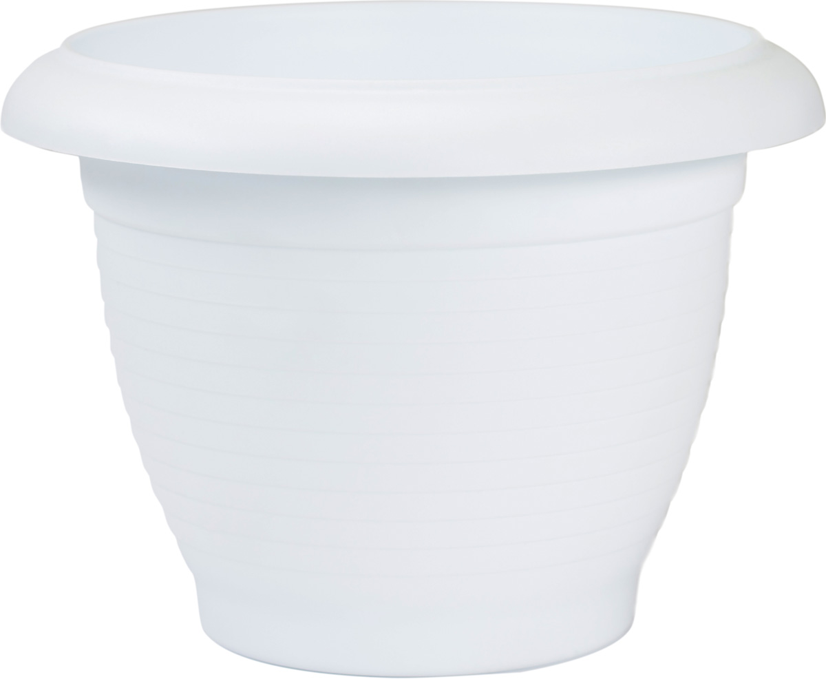 Горшок цветочный Santino Терра, цвет: белый, 9,3 л1309274_черный поддон, белыйЦветочный горшок изготовлен из высококачественного пластика, не содержащего вредных примесей. Он устойчив к воздействию ультрафиолета. Удерживает влагу дольше, чем глиняные изделия.