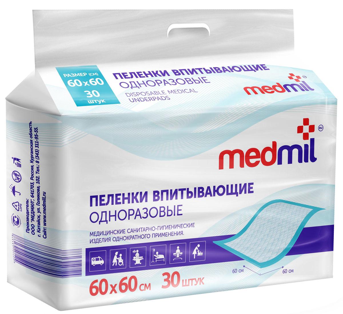 Пеленка впитывающая одноразовая Medmil Оптима 60 х 60 см, 30 шт60 МО П2 30 Г 120Пелёнки защищают постельное бельё от промокания, а кожу пациента от мацераций и пролежней. Облегчают уход, повышают комфорт для пациента. Пелёнки Медмил не уступают лучшим импортным аналогам.