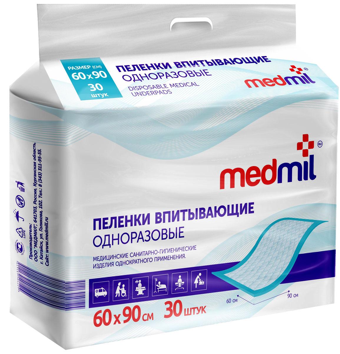 Пеленка впитывающая одноразовая Medmil Оптима 60 х 90 см, 30 шт90 МО П2 30 Г 120Пелёнки защищают постельное бельё от промокания, а кожу пациента от мацераций и пролежней. Облегчают уход, повышают комфорт для пациента. Пелёнки Медмил не уступают лучшим импортным аналогам.