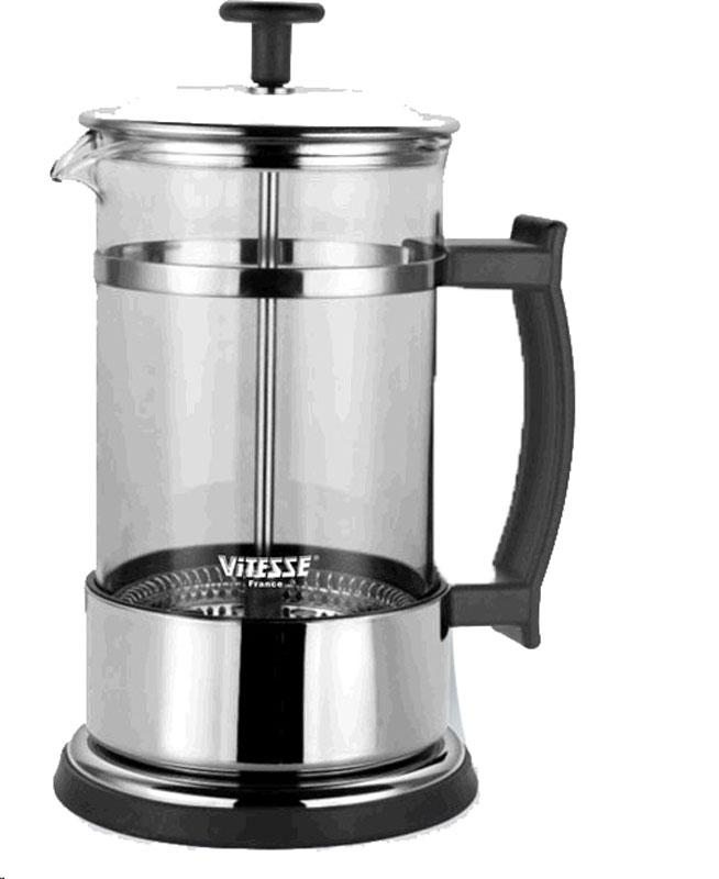 Кофеварка Vitesse Aan, 600 млVS-1677Кофеварка Aan с фильтром френч-пресс займет достойное место на Вашей кухне. Корпус кофеварки выполнен из термостойкого стекла Pyrex, фильтр - из нержавеющей стали, а ручки - из прочного пластика.В комплект с кофеваркой входят мерная ложка. Кофеварка пригодна для мытья в посудомоечной машине. Настоящим ценителям натурального кофе широко известны основные и наиболее часто применяемые способы его приготовления: эспрессо, по-турецки, гейзерный. Однако существует принципиально иной способ, известный как french press, благодаря которому приготовление ароматного напитка стало гораздо проще.Метод french press прост: в теплый кофейник насыпают кофе грубого помола и заливают горячей водой. После того, как напиток настоится 3-5 минут, гущу отделяют поршнем с сеткой - и кофе готов! Эксперты считают, что такой способ позволяет получить максимально ароматный и нежный кофе - ведь он не перегревается, не подвергается воздействию высокого давления и не проходит через бумажный фильтр. Результат - напиток с максимально чистым вкусом. Характеристики: Высота кофеварки (без учета крышки):16,5 см. Диаметр основания:10 см. Объем:600 мл. Длина мерной ложки:11 см. Материал:нержавеющая сталь, стекло, пластик.Артикул:VS-1677.