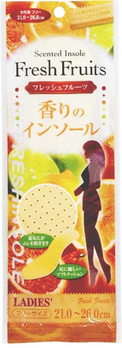 Fudo Kagaku Женские дышащие стельки с ароматом фруктов 21-26 см015796Мягкие стельки обеспечат Вам комфорт при ходьбе. Стельки создают приятный аромат фруктов внутри обуви. Мягкий материал стелек помогает снять напряжение с ног, что уменьшает усталость. Благодаря вентиляционным отверстиям, обеспечивается постоянная циркуляция воздуха, что способствует снижению потливости ног. Подходят для ежедневной эксплуатации и обуви любого типа.