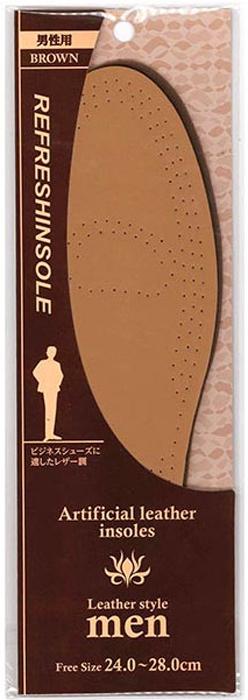 Fudo Kagaku Стельки для классической мужской обуви (коричневые, кожзам) 24-28 см015932Удобные стельки, наиболее подходящие для классической мужской обуви. Для материала поверхности использовался высококачественный кожезаменитель. Мягкий латекс в качестве основного материала гарантирует комфорт при ходьбе, снимает напряжение с ног и снижает усталость. Благодаря вентиляционным отверстиям, стельки хорошо проветриваются и способствуют снижению потливости ног. Оптимальны для ежедневной эксплуатации.