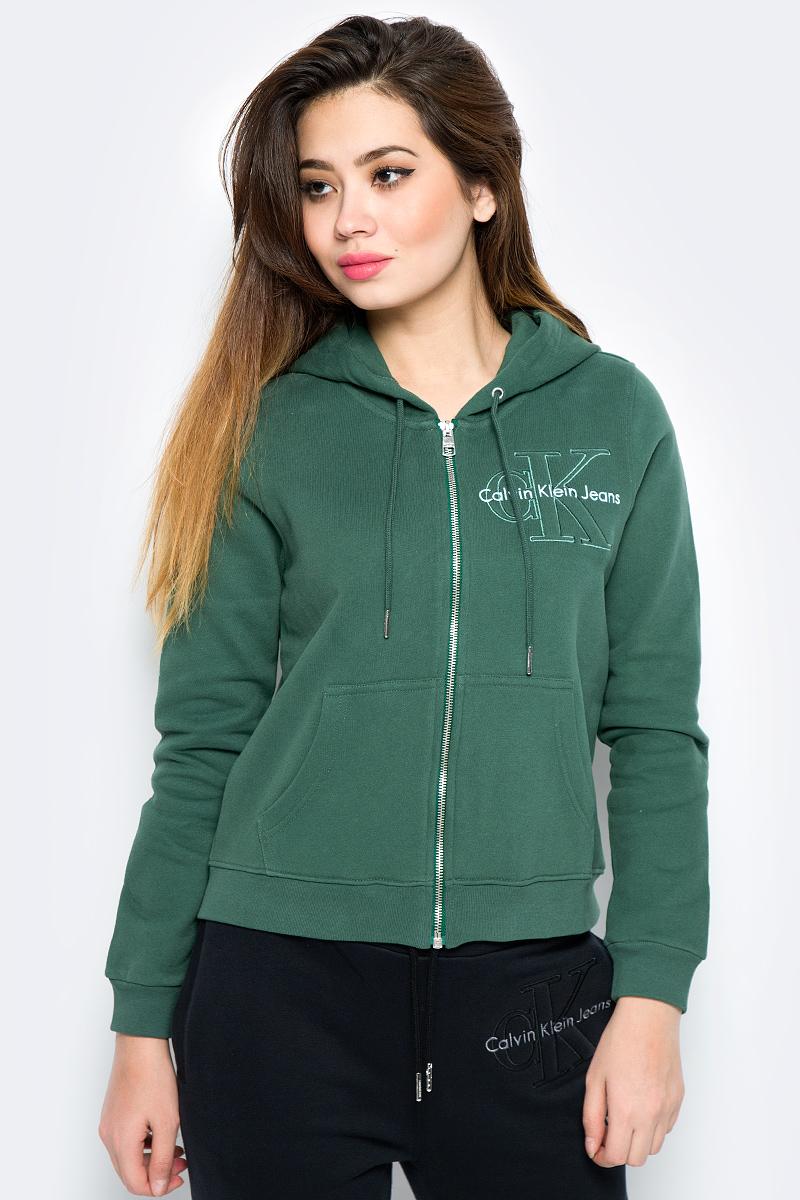 Купить Толстовка женская Calvin Klein Jeans, цвет: зеленый. J20J206570_3470. Размер XL (48/50)