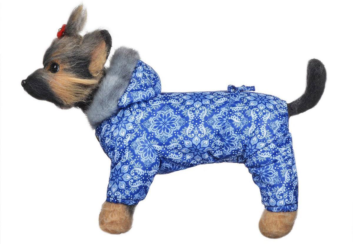 "Комбинезон для собак Dogmoda ""Winter"", зимний, для мальчика, цвет: синий, белый. Размер 3 (L)"