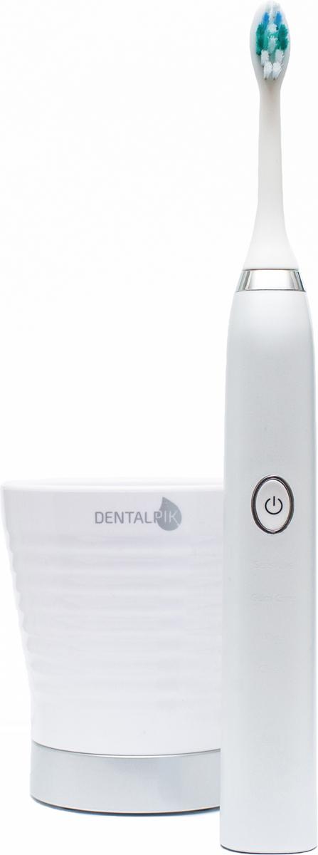 Dentalpik Pro 10, White электрическая зубная щетка06.045Звуковая зубная щетка Dentalpik Pro 10 – это стильная и эффективная звуковая зубная щетка с ирригационным эффектом и инновационным, бесконтактным зарядным устройством в форме стакана.Уникальная технология движения щетинок, а именно 37000 чистящих движений в минуту создают во рту динамический поток жидкости с содержанием кислорода и зубной пасты, который способен проникать в самые труднодоступные места.Ирригационный эффект. Специалистами компании Dentalpik в ходе многочисленных экспериментов была выявлена прямая взаимосвязь между количеством чистящих движений в минуту и проникающей силой динамического потока жидкости, создаваемым чистящей головкой во время чистки. Полученный результат получил название – ирригационный эффект. Звуковая зубная щетка Dentalpik pro 10 – это первая зубная щетка от компании Dentalpik в которой воплощена данная технология. Зубная щетка Dentalpik Pro 10 удаляет налет с поверхности зубов и десен, а так же из межзубных промежутков до 100% лучше, чем обычная зубная щетка.Встроенный в щетку Smart Timer позволяет контролировать время чистки зубов, подавая звуковые сигналы каждые 30 секунд, которые информируют Вас о необходимости смены области чистки и перехода к следующему квадранту полости рта.Ваши зубы гарантированно станут белее и чище всего за 14 дней использования зубной щетки Dentalpik Pro 10, а десны здоровее и крепче.Инновационное зарядное устройство. Инновационное зарядное устройство с бесконтактной технологией зарядки в виде стильного акрилового стакана-зарядки с USB выходом, будет прекрасным украшением Вашей ванной комнаты и позволит заряжать вашу щетку Dentalpik Pro 10 не только от розетки, но и от ноутбука и любого другого устройства с USB выходом. Режимы работы. Звуковая зубная щетка Dentalpik Pro 10 имеет 4 режима работы: Clean – Максимально эффективное удаление налета (стандартный режим). White – режим отбеливания и полировки передних зубов. Более быстрый 2-х минутный режим. G