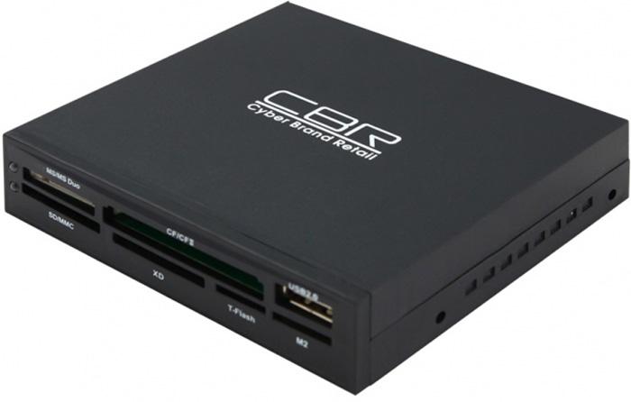 CBR CR 601, Black картридер USB 2.0CR 601CBR CR 601 - это устройство для чтения/записи карт памяти различных типов. Соединение по шине USB 2.0 дает возможность быстро переносить в память компьютера такие объемные данные, как фотографии, музыкальные записи, видео-ролики. CR 601 работает со всеми существующими портами типа USB. Устройство будет полезно потребителям, которые используют несколько типов флеш карт и нуждаются в универсальном ридере для высокоскоростной передачи в память компьютера различных данных. Главной особенностью картридера CR 610 является возможность стационарной установки в ПК, удобно интегрируется в отсек для 3,5 устройств расширения на системном блоке компьютера. CR 601 обладает ультра-компактными размерами, легким весом и оснащен современными высокоскоростными микросхемами по обработке данных. Адаптер совместим с самыми распространенными форматами карт памяти (CF Type II, CF Type I, SDHC, SD, microSDHC, microSD, MMCplus, MMC, MS Pro Duo, MS Duo, MS Pro, MS, xD, USB Flash Drive) и высокоскоростным протоколом USB 2.0.