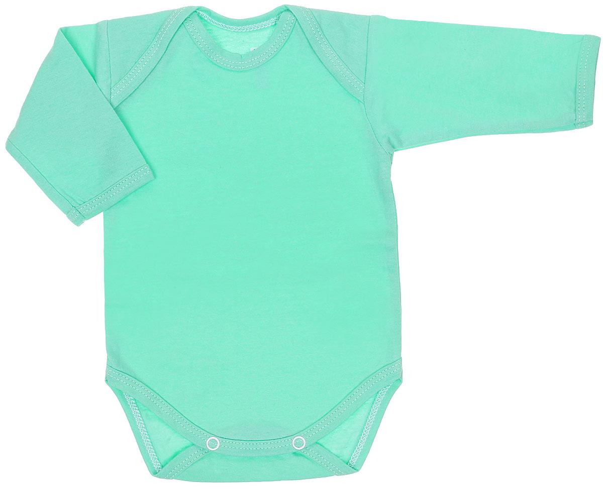 Боди детское Трон-Плюс, цвет: светло-зеленый. 5861. Размер 56, 1 месяц5861Детское боди Трон-плюс с длинными рукавами послужит идеальным дополнением к гардеробу вашего ребенка, обеспечивая ему наибольший комфорт. Боди изготовлено из кулирного полотна -натурального хлопка, благодаря чему оно необычайно мягкое и легкое, не раздражает нежную кожу ребенка и хорошо вентилируется, а эластичные швы приятны телу младенца и не препятствуют его движениям. Удобные запахи на плечах и кнопки на ластовице помогают легко переодеть младенца или сменить подгузник. Боди полностью соответствует особенностям жизни ребенка в ранний период, не стесняя и не ограничивая его в движениях. В нем ваш ребенок всегда будет в центре внимания.