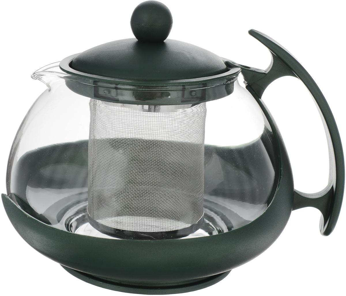 Чайник заварочный Bekker, с фильтром, цвет: темно-зеленый, прозрачный, 750 мл. BK-307 чайник заварочный pavone роза цвет белый розовый зеленый 750 мл