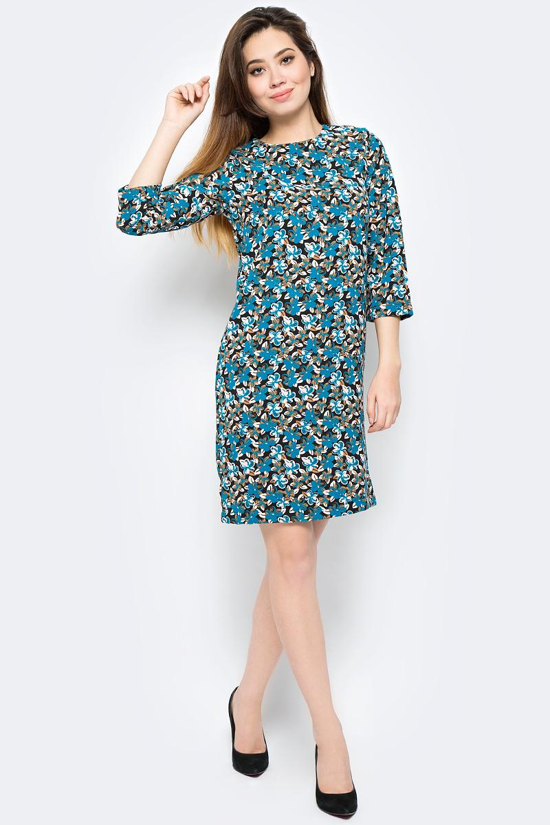 Платье United Colors of Benetton, цвет: мультиколор. 4VV55V814_75Q. Размер S (42/44)4VV55V814_75QПлатье United Colors of Benetton выполнено из полиэстера. Модель с круглым вырезом горловины и длинными рукавами.