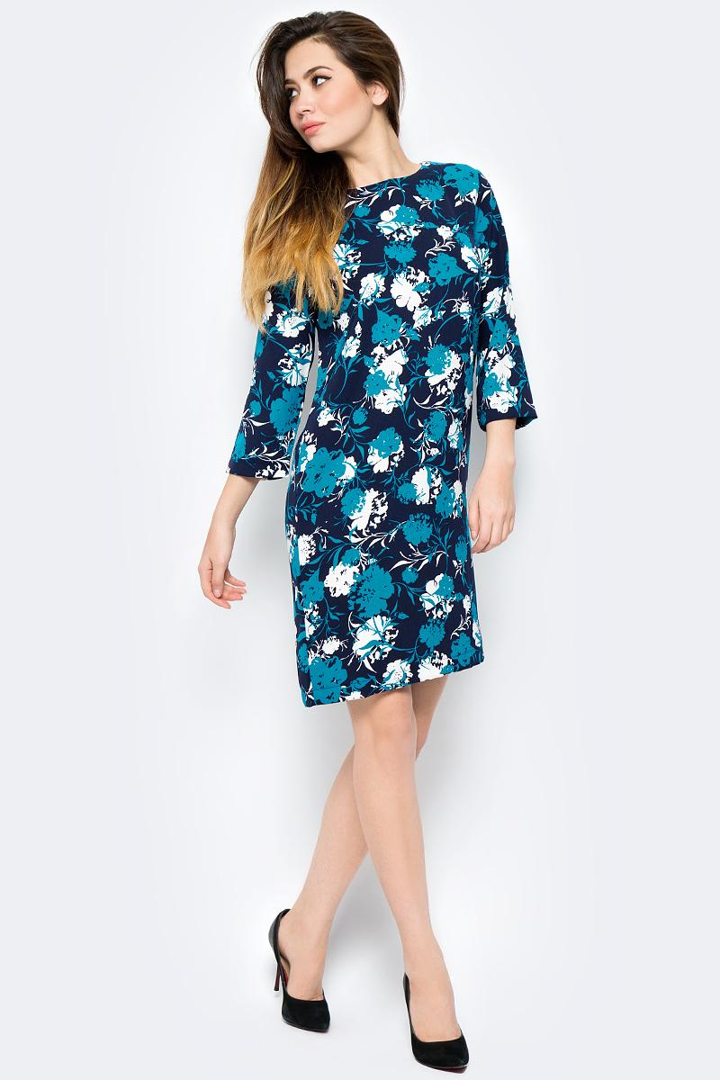 Платье United Colors of Benetton, цвет: синий, голубой, белый. 4VV55V814_75U. Размер S (42/44)4VV55V814_75UПлатье United Colors of Benetton выполнено из полиэстера. Модель с круглым вырезом горловины и длинными рукавами.