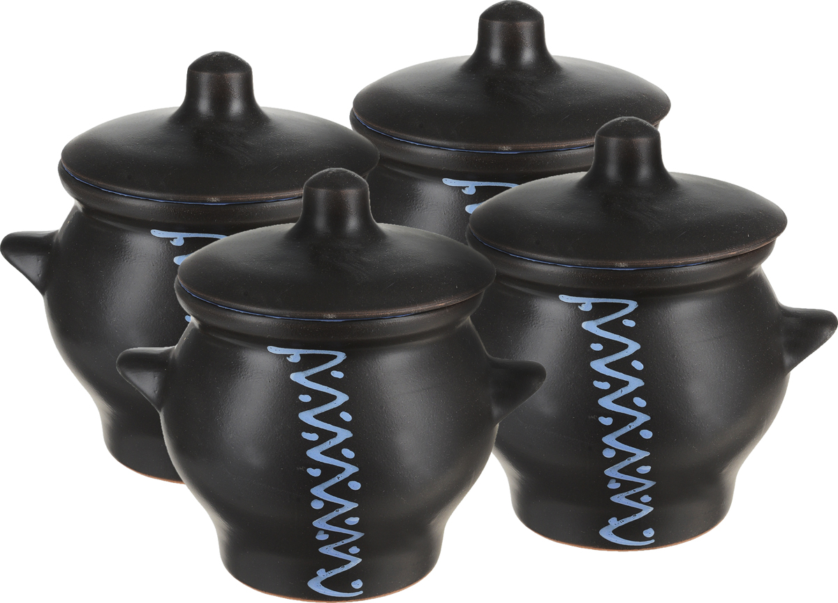 Набор горшочков для запекания Борисовская керамика Престиж, цвет: черный, синий, 700 мл, 4 штЧУГ14456603Набор Борисовская керамика Престиж состоит из 4 горшочков для запекания с крышками. Изделия выполнены из высококачественной керамики. Уникальные свойства красной глины и толстые стенки изделия обеспечивают эффект русской печи при приготовлении блюд. Блюда, приготовленные в керамическом горшке, получаются нежными и сочными. Вы сможете приготовить мясо, сделать томленые овощи и все это без капли масла. Это один из самых здоровых способов готовки. Можно использовать в духовке и микроволновой печи. Диаметр горшочка (по верхнему краю): 11 см.Диаметр основания: 8,2 см.Высота стенок: 11,3 см.Размер горшка (с учетом ручек и крышки): 16 х 13 х 15 см.