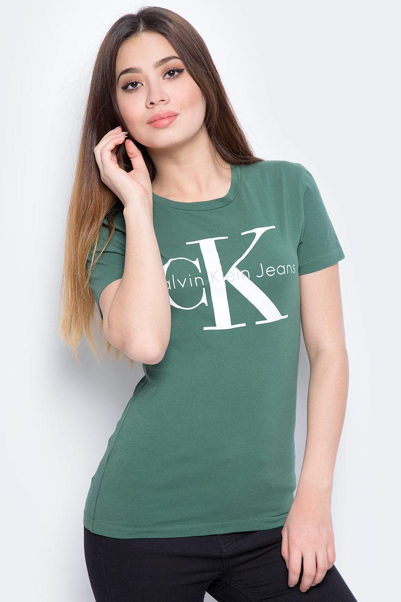 Футболка женская Calvin Klein Jeans, цвет: зеленый. J20J207085_3470. Размер L (46/48) футболка женская calvin klein jeans цвет зеленый j20j206438 3480 размер xs 40 42