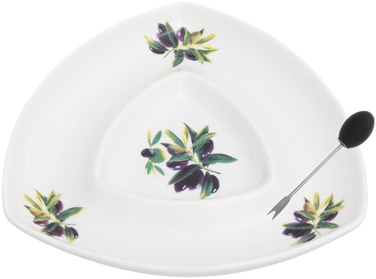 """Менажница с 2 секциями Elan Gallery """"Оливки"""" - это великолепная идея для эстетичной и удобной сервировки вашего стола: яркая, нарядная, неординарная! Объем: 120 мл."""