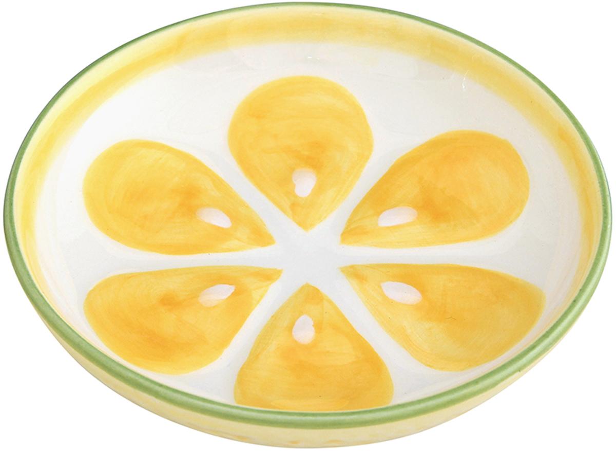 Тарелочка под лимон Elan Gallery Лимон, цвет: желтый, 75 мл101288Элегантная тарелочка под лимон, изготовленная из высококачественной керамики, поможет сервировать нарезанный дольками лимон и другие цитрусовые. Диаметр 10 см. Объем 75 мл.