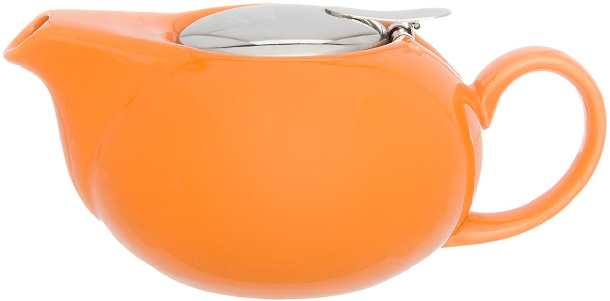 Чайник заварочный Elan Gallery, с крышкой и с ситом, цвет: оранжевый, 550 мл630040Изящный вместительный чайник с металлическим ситом, удобной ручкой и широким носиком. В основании носика сделаны фильтрующие отверстия от попадания чаинок в чашку. Изделие имеет подарочную упаковку.
