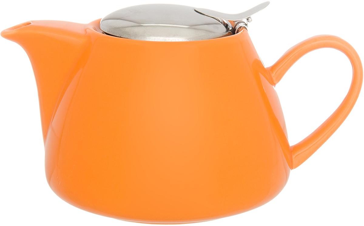 Чайник заварочный Elan Gallery, с крышкой и ситом, цвет: оранжевый, 700 мл630048Изящный вместительный чайник с металлическим ситом, удобной ручкой и широким носиком. В основании носика сделаны фильтрующие отверстия от попадания чаинок в чашку. Изделие имеет подарочную упаковку.
