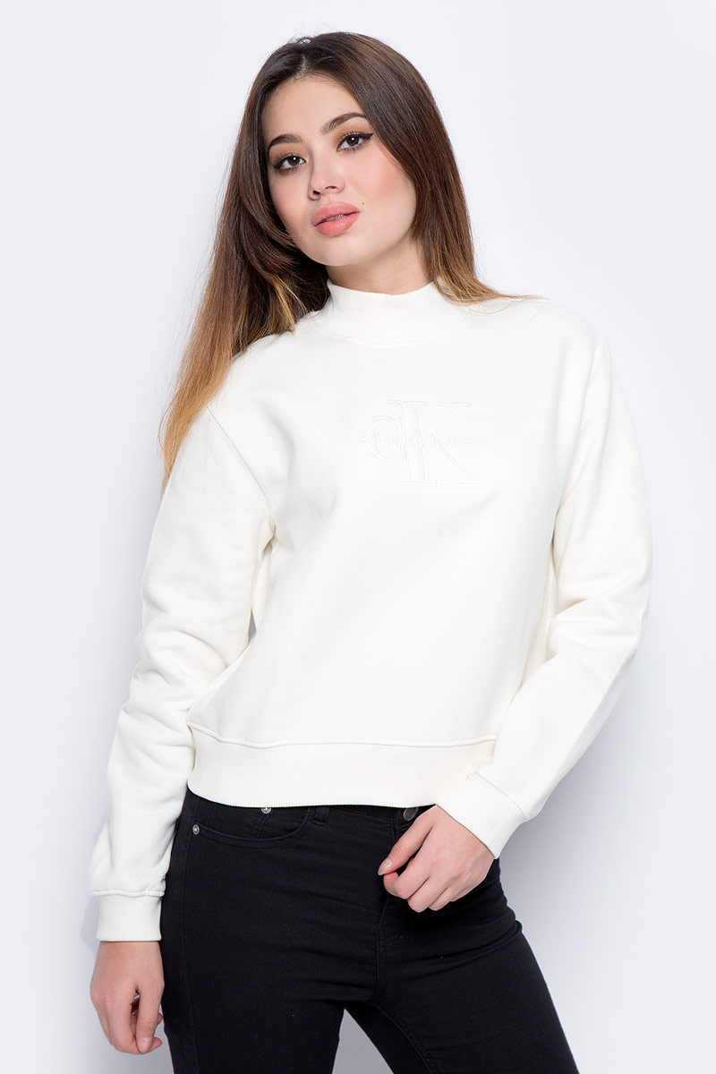 Свитшот женский Calvin Klein Jeans, цвет: бежевый. J20J206410_0030. Размер L (46/48) свитшот calvin klein jeans calvin klein jeans ca939ewzjs88