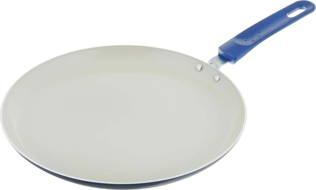 Сковорода для блинов Vitesse, цвет: синий. Диаметр 26 см. VS-7410VS-7410Сковорода Vitesse изготовлена из высококачественного алюминия. Внешнее элегантное цветное покрытие подвергается высокотемпературной обработке. Бакелитовая, высокопрочная, огнестойкая, ненагревающаяся ручка удобной формы крепится к корпусу на заклепках. Сковорода имеет внутреннее керамическое покрытие, быстрый нагрев и равномерное распределение тепла по всей поверхности.Сковорода Vitesse станет незаменимым помощником на вашей кухне.