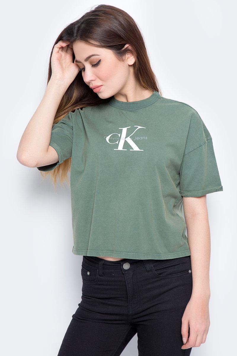 Футболка женская Calvin Klein Jeans, цвет: зеленый. J20J206445_3470. Размер L (46/48) calvin klein new black white colorblock womens size large l crewneck sweater $79