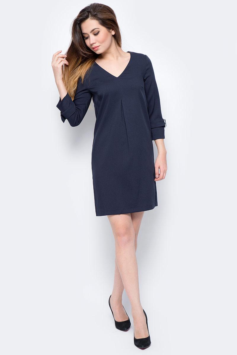 Платье женское Top Secret, цвет: темно-синий. SSU1977GR. Размер 36 (46)SSU1977GRМодное платье Top Secret выполнено из плотного комбинированного материала. Модель свободного кроя с V-образным вырезом горловины и длинными рукавами. На спинке изделие застегивается на застежку-молнию. Рукава декорированы хлястиками со стильной фурнитурой.