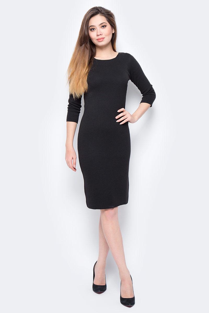 Платье United Colors of Benetton, цвет: черный. 104CV1D99_700. Размер M (44/46)104CV1D99_700Платье United Colors of Benetton выполнено из качественного материала. Модель с круглым вырезом горловины и длинными рукавами.