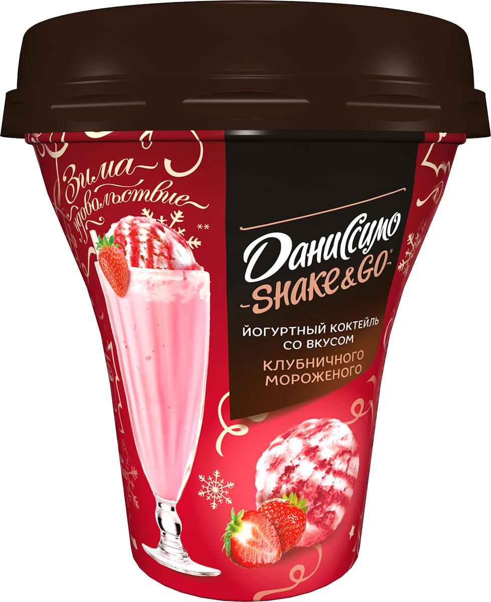 Даниссимо Йогуртный коктейль Клубничное мороженое 5,2%, 260 г даниссимо продукт творожный пломбир 5 4% 130 г