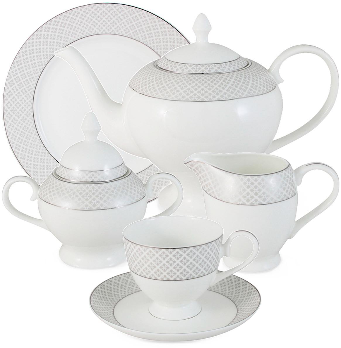 Чайный сервиз Emerald Элеганс, 21 предмет, 6 персон. E5-09-17/21-AL сервиз набор emerald чайный сервиз петергоф 21 предмет на 6 персон e5 16 41 21 al
