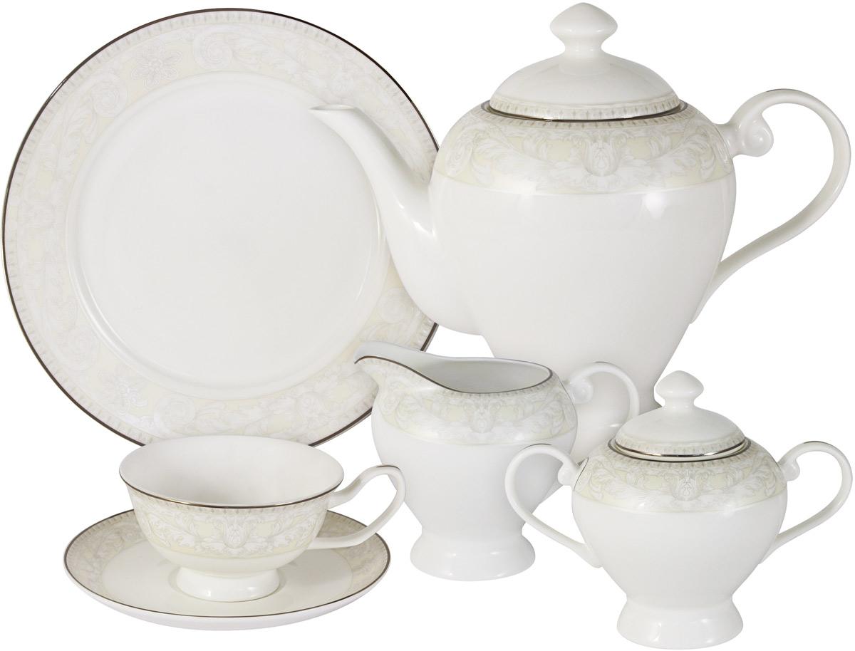 Чайный сервиз Emerald Белгравия, 21 предмет, 6 персон. E6-G10Q04-02/21M-ALE6-G10Q04-02/21M-ALЧайный сервиз Белгравия 21 предмет на 6 персон (6 чашек 0,175л; 6 блюдец; 6 тарелок 21см, чайник1,2л, сахарница 0,35л, молочник 0,35л)Чайная и обеденная столовая посуда торговой марки Emerald произведена из высококачественного костяного фарфора. Благодаря высокому качеству исполнения, разнообразным декорам и оптимальному соотношению цена – качество, посуда Emerald завоевала огромную популярность у покупателей и пользуется неизменно высоким спросом.Изделия Emerald представлены как в виде обеденных и чайных сервизов на 6 и 12 персон.Поверхность изделий покрыта превосходной сверкающей глазурью, не содержащей свинца.