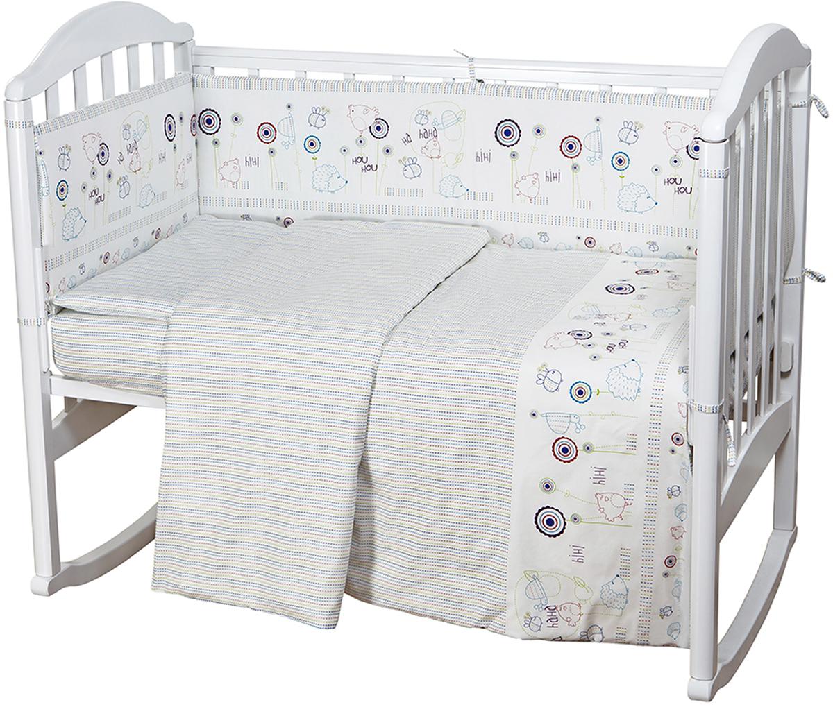 Baby Nice Комплект постельного белья детский Ежик 6 предметов цвет белый H11H11Комплект в кроватку для самых маленьких должен быть изготовлен только из самой качественной ткани, самой безопасной и гигиеничной, самой экологичной и гипоаллергенной. Отлично подходит для кроваток малышей, которые часто двигаются во сне. Хлопковое волокно прекрасно переносит стирку, быстро сохнет и не требует особого ухода, не линяет и не вытягивается. Ткань прошла специальную обработку по умягчению, что сделало её невероятно мягкой и приятной к телу.