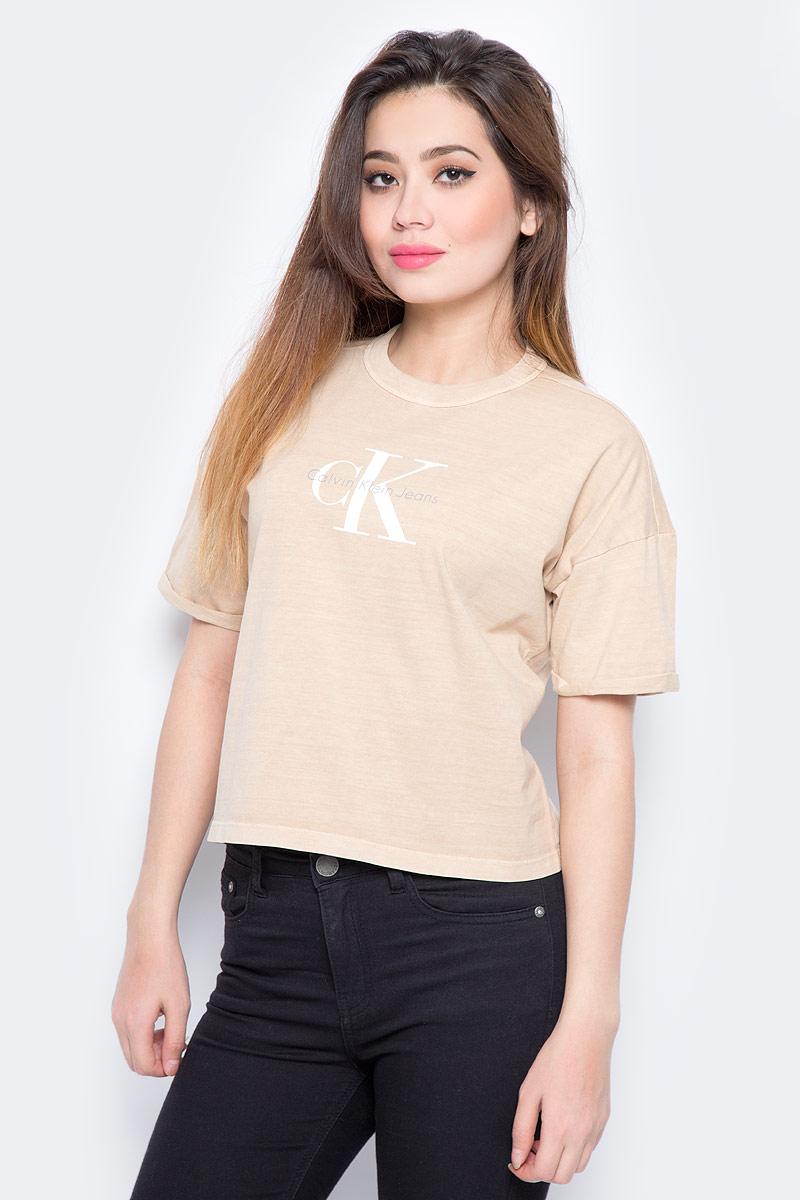 Футболка женская Calvin Klein Jeans, цвет: бежевый. J20J206445_0150. Размер L (46/48) сумка женская calvin klein jeans цвет белый бежевый k60k600996 9100
