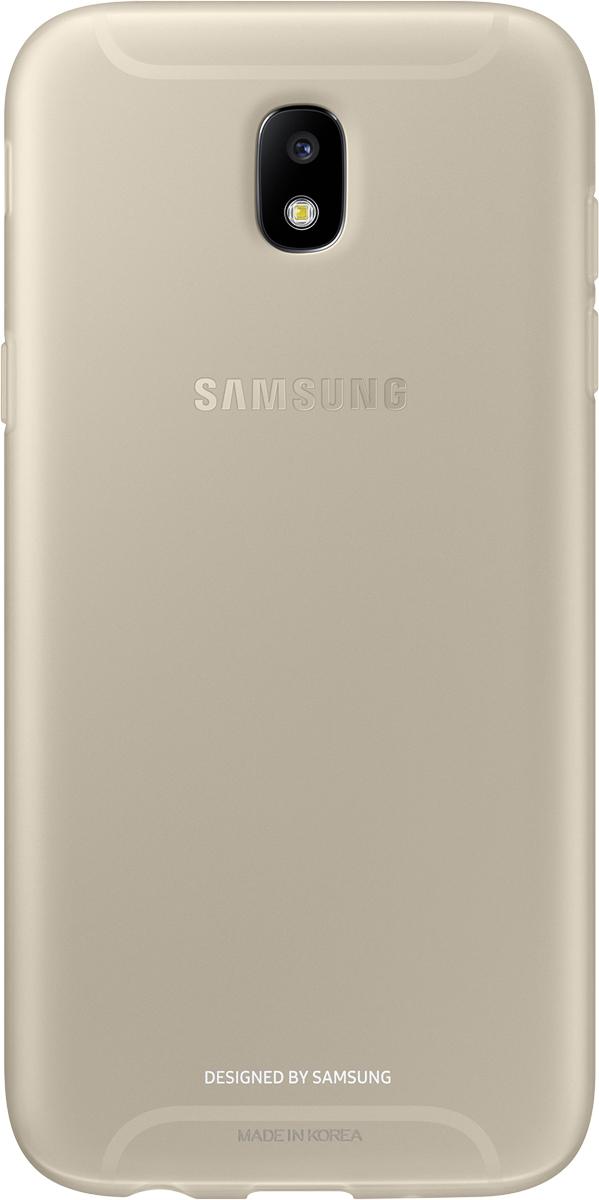 Samsung Jelly Cover чехол для Galaxy J5 (2017), GoldSAM-EF-AJ530TFEGRUОтличный чехол-накладка, который сможет защитить заднюю часть смартфона отпотертостей, царапин, грязи, пыли илегких ударов. Чехол практически неувеличивает габариты ивес устройства.